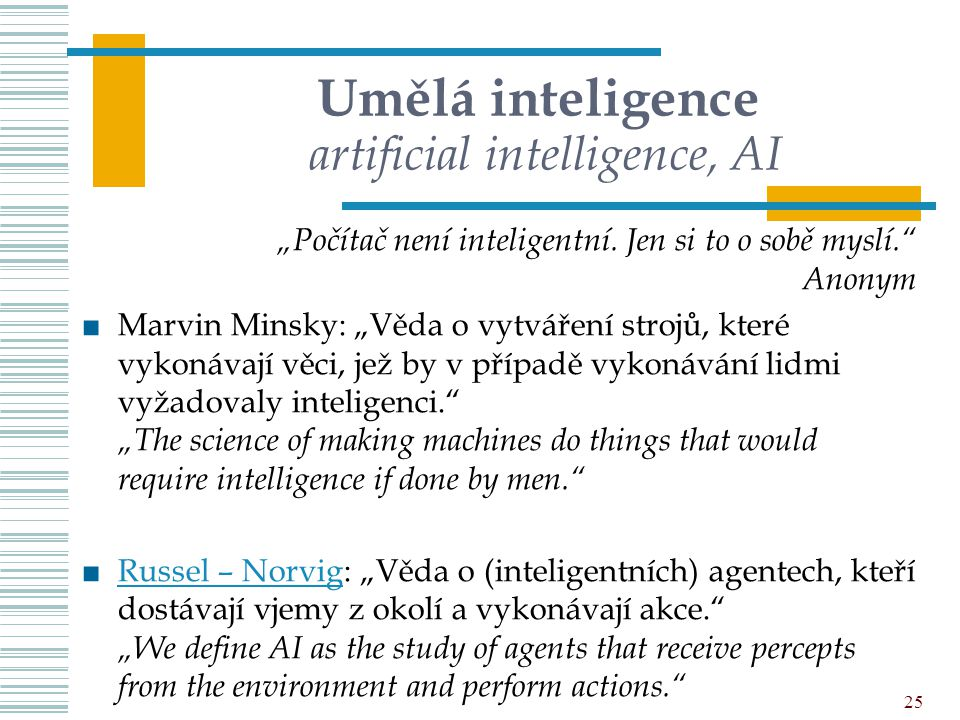 Umělá inteligence artificial intelligence, AI