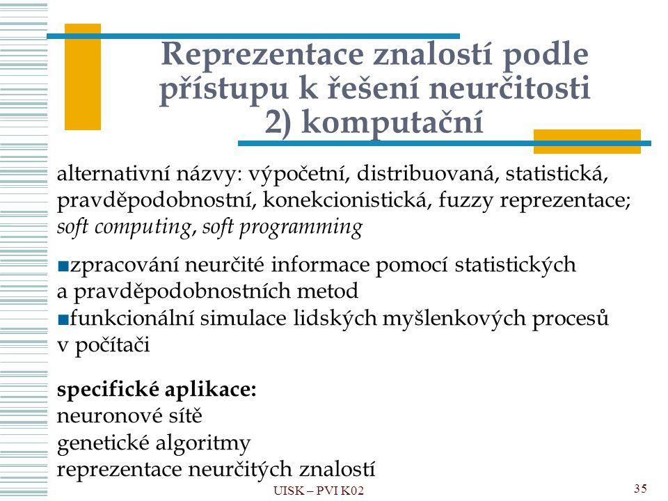 Reprezentace znalostí podle přístupu k řešení neurčitosti 2) komputační