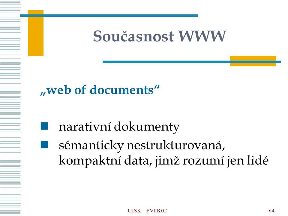 """Současnost WWW """"web of documents narativní dokumenty"""