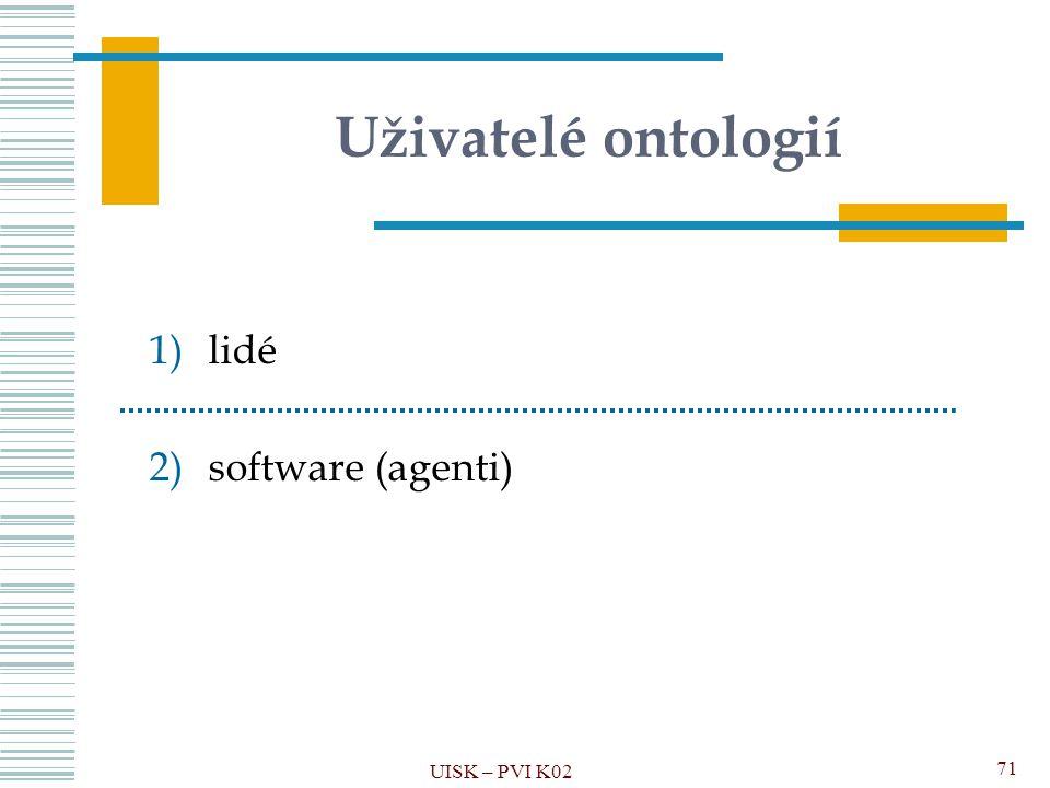 Uživatelé ontologií lidé software (agenti) UISK – PVI K02
