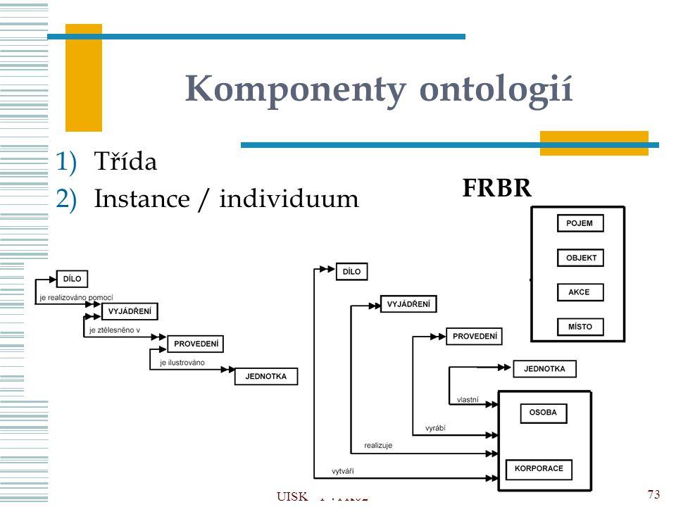 Komponenty ontologií Třída Instance / individuum FRBR UISK – PVI K02
