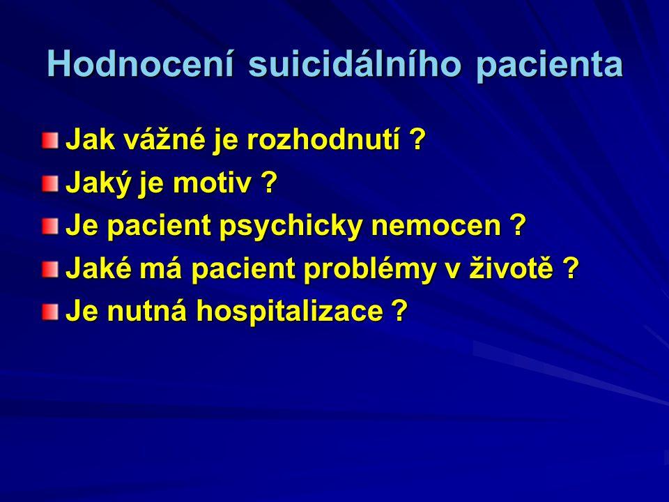 Hodnocení suicidálního pacienta