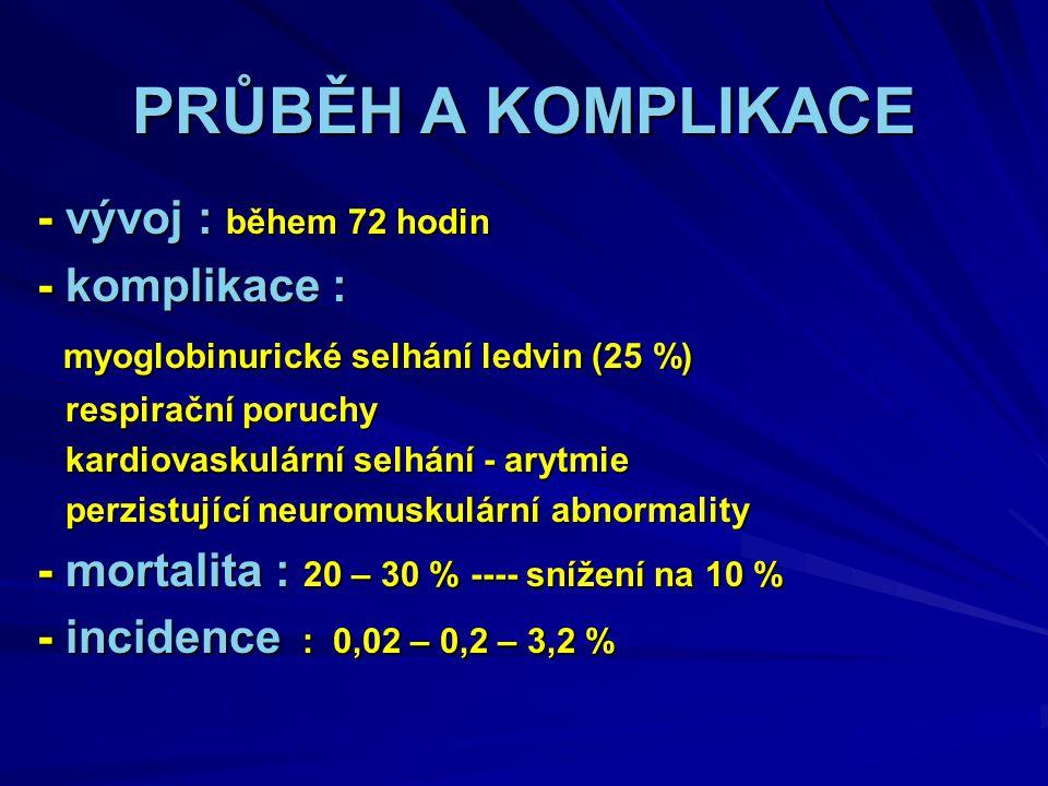 PRŮBĚH A KOMPLIKACE - vývoj : během 72 hodin - komplikace :