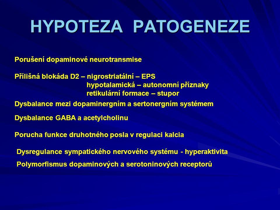 HYPOTEZA PATOGENEZE Porušení dopaminové neurotransmise
