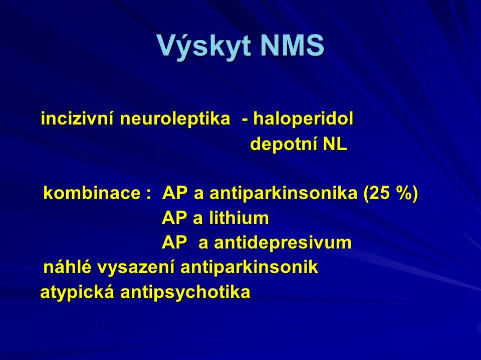 Výskyt NMS incizivní neuroleptika - haloperidol depotní NL