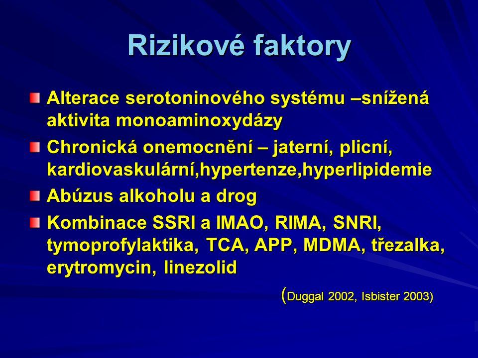 Rizikové faktory Alterace serotoninového systému –snížená aktivita monoaminoxydázy.