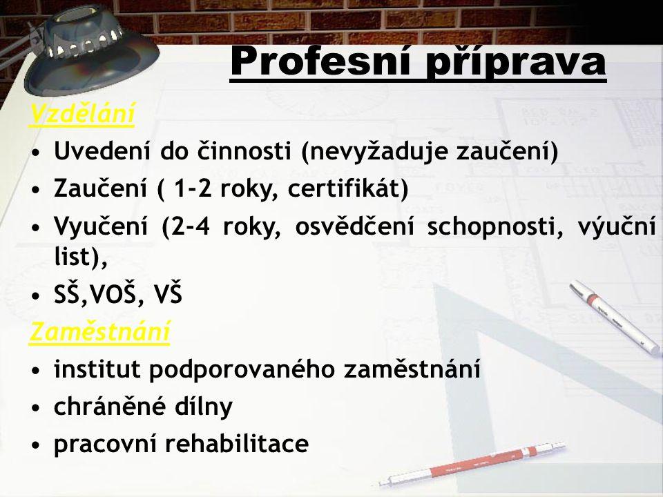 Profesní příprava Vzdělání Uvedení do činnosti (nevyžaduje zaučení)