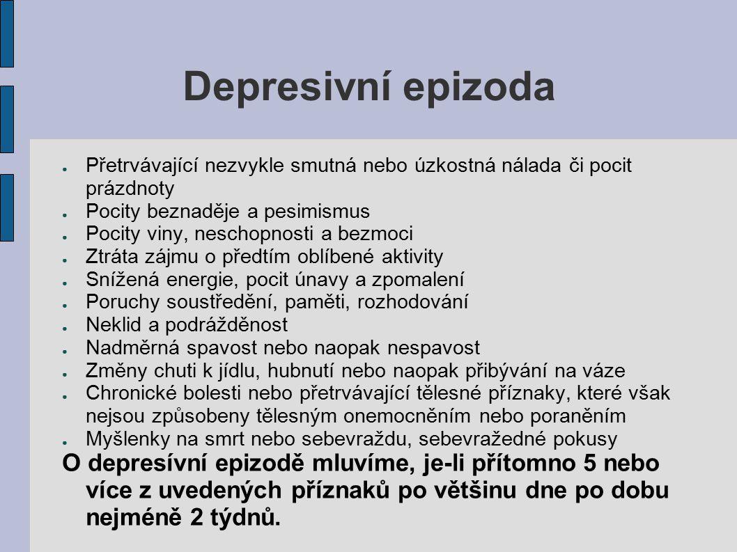 Depresivní epizoda Přetrvávající nezvykle smutná nebo úzkostná nálada či pocit prázdnoty. Pocity beznaděje a pesimismus.
