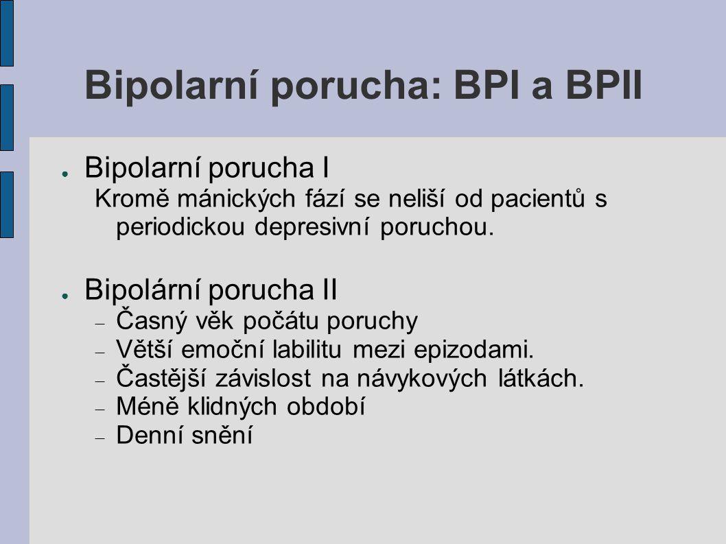 Bipolarní porucha: BPI a BPII