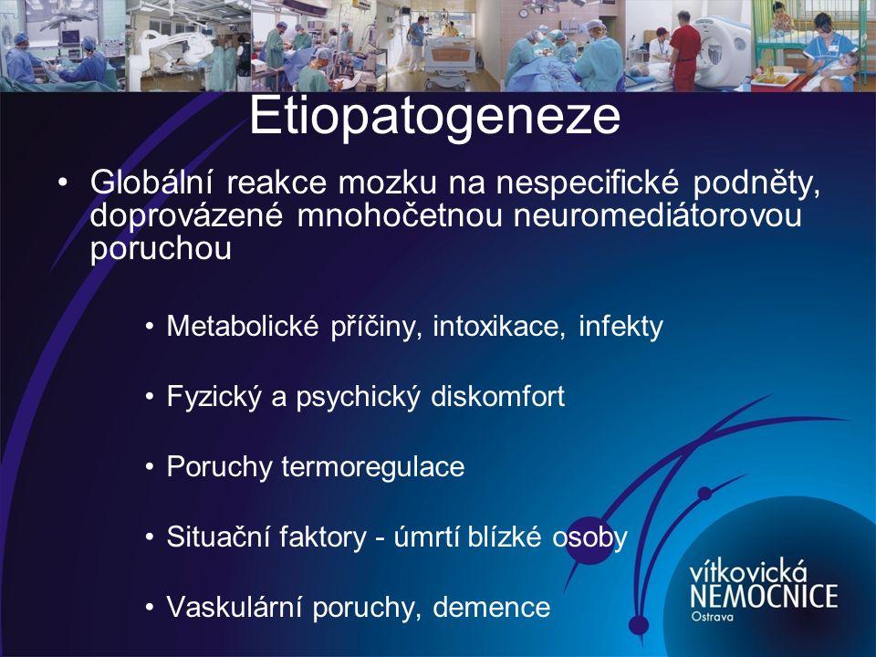 Etiopatogeneze Globální reakce mozku na nespecifické podněty, doprovázené mnohočetnou neuromediátorovou poruchou.