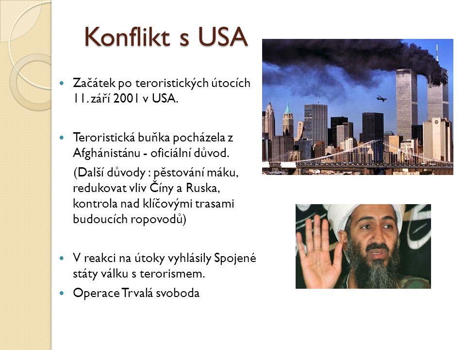Konflikt s USA Začátek po teroristických útocích 11. září 2001 v USA.