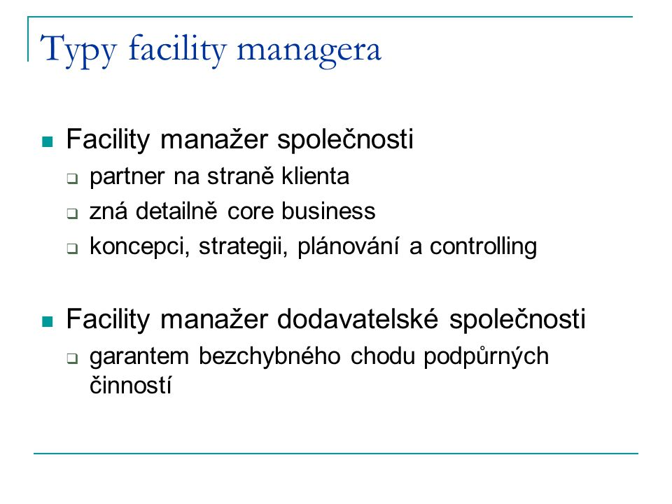 Typy facility managera