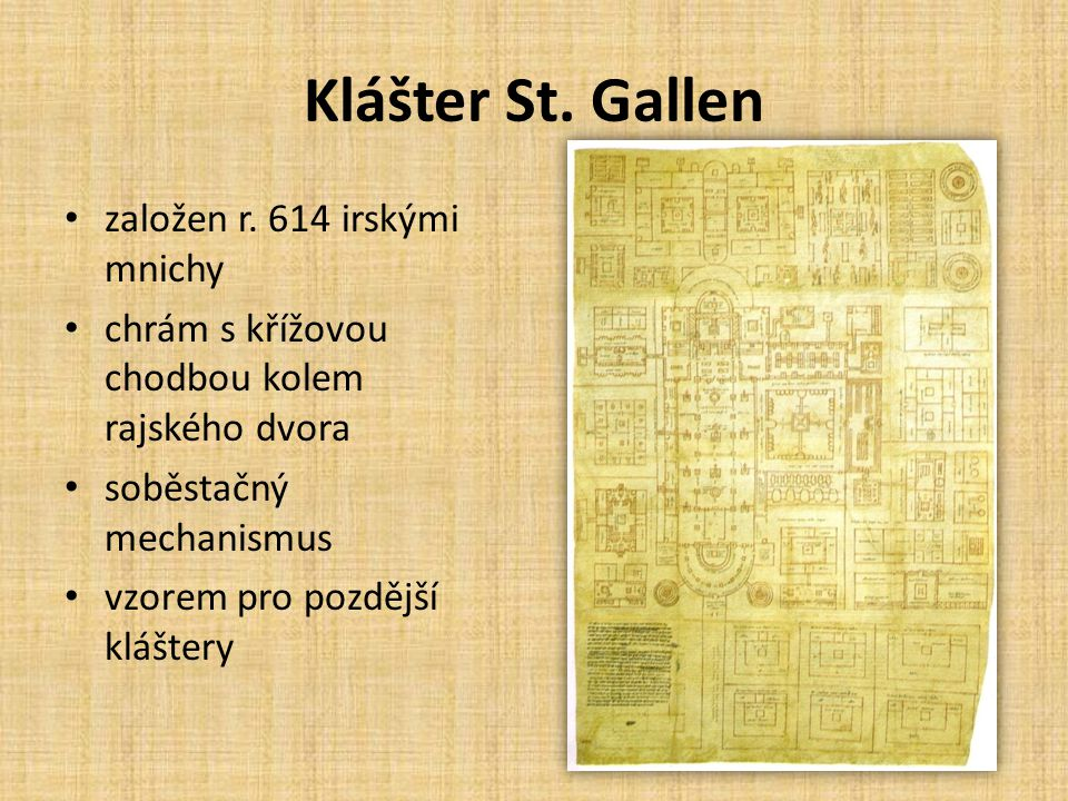 Klášter St. Gallen založen r. 614 irskými mnichy