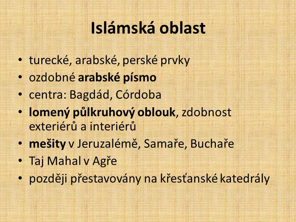 Islámská oblast turecké, arabské, perské prvky ozdobné arabské písmo