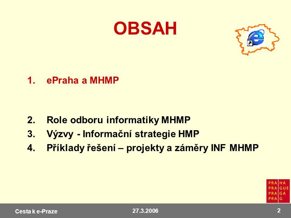 OBSAH ePraha a MHMP Role odboru informatiky MHMP