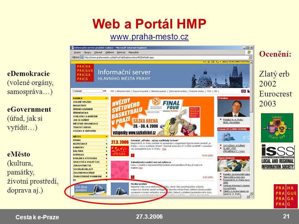Web a Portál HMP www.praha-mesto.cz