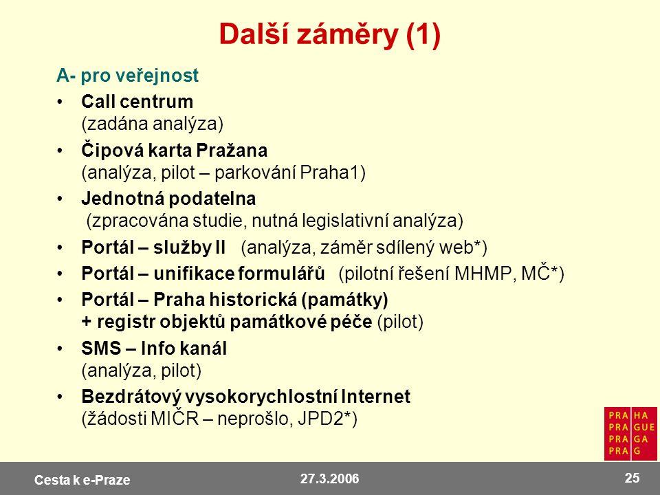 Další záměry (1) A- pro veřejnost Call centrum (zadána analýza)