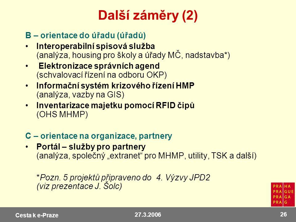 Další záměry (2) B – orientace do úřadu (úřadů)