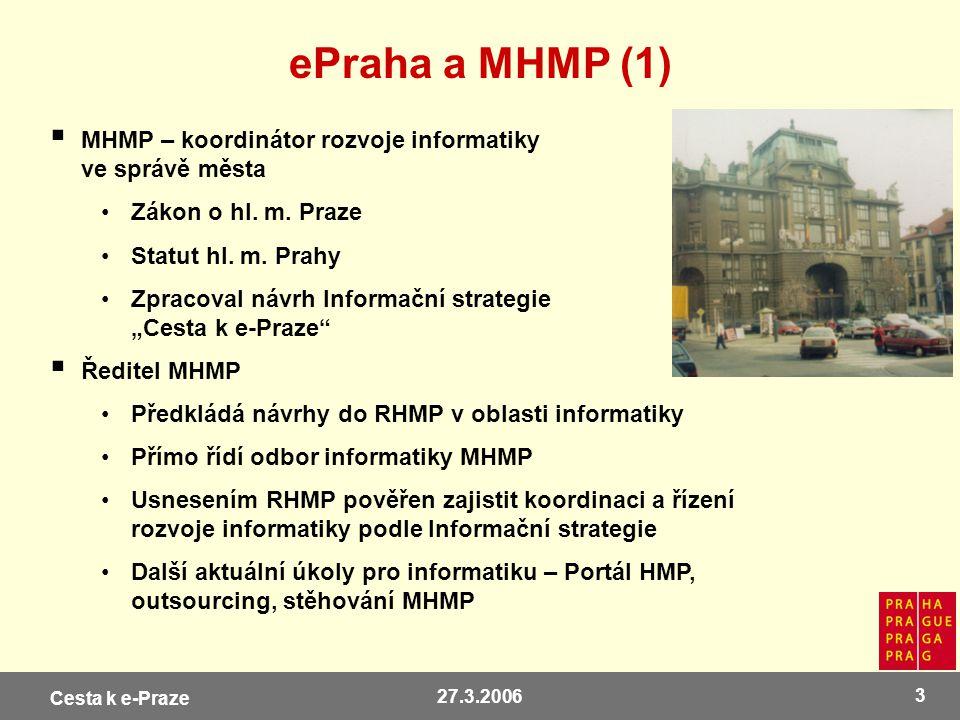 ePraha a MHMP (1) MHMP – koordinátor rozvoje informatiky ve správě města. Zákon o hl. m. Praze. Statut hl. m. Prahy.