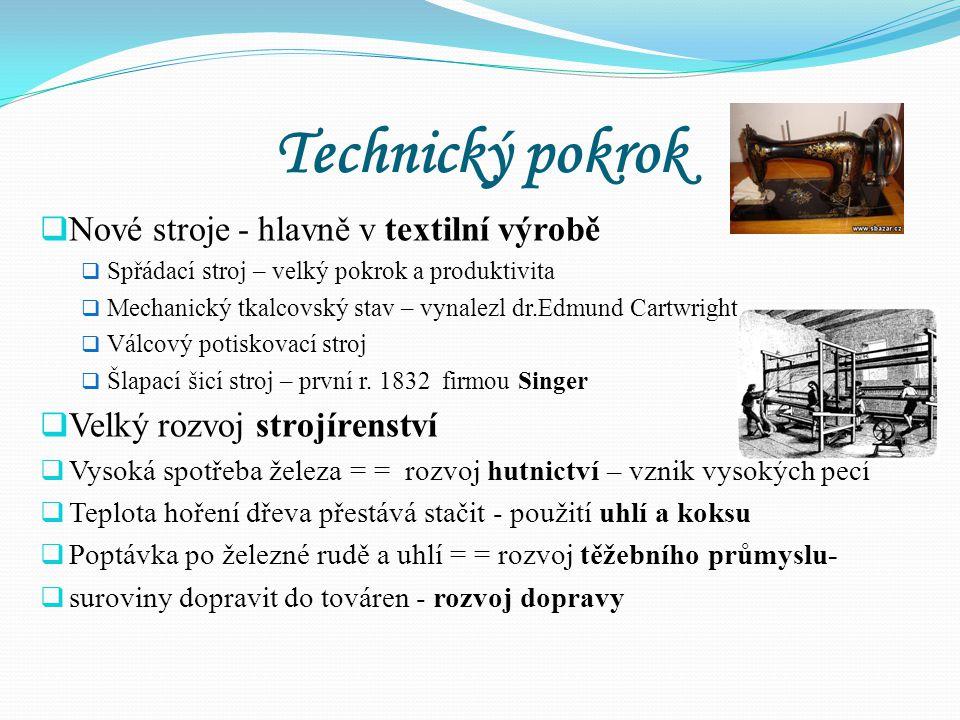 Technický pokrok Nové stroje - hlavně v textilní výrobě