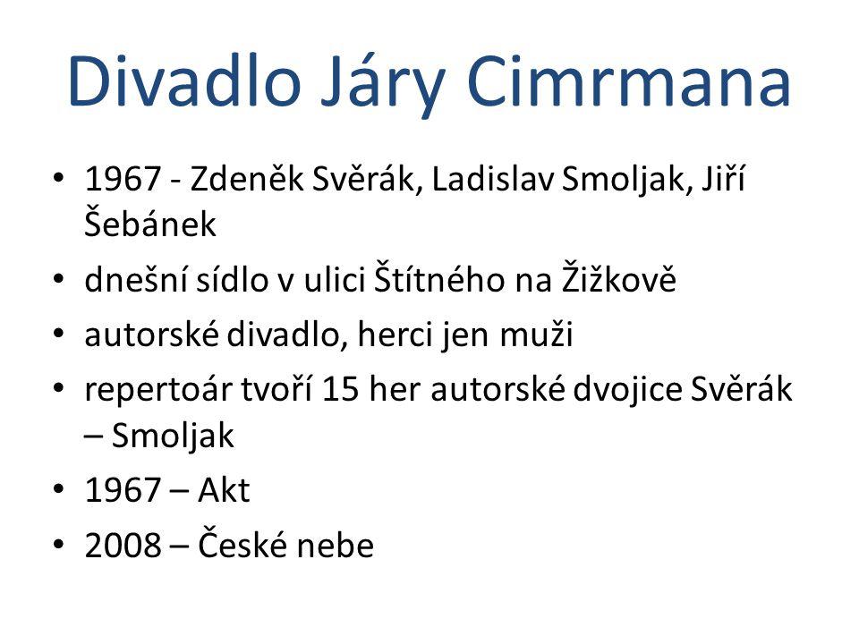 Divadlo Járy Cimrmana 1967 - Zdeněk Svěrák, Ladislav Smoljak, Jiří Šebánek. dnešní sídlo v ulici Štítného na Žižkově.