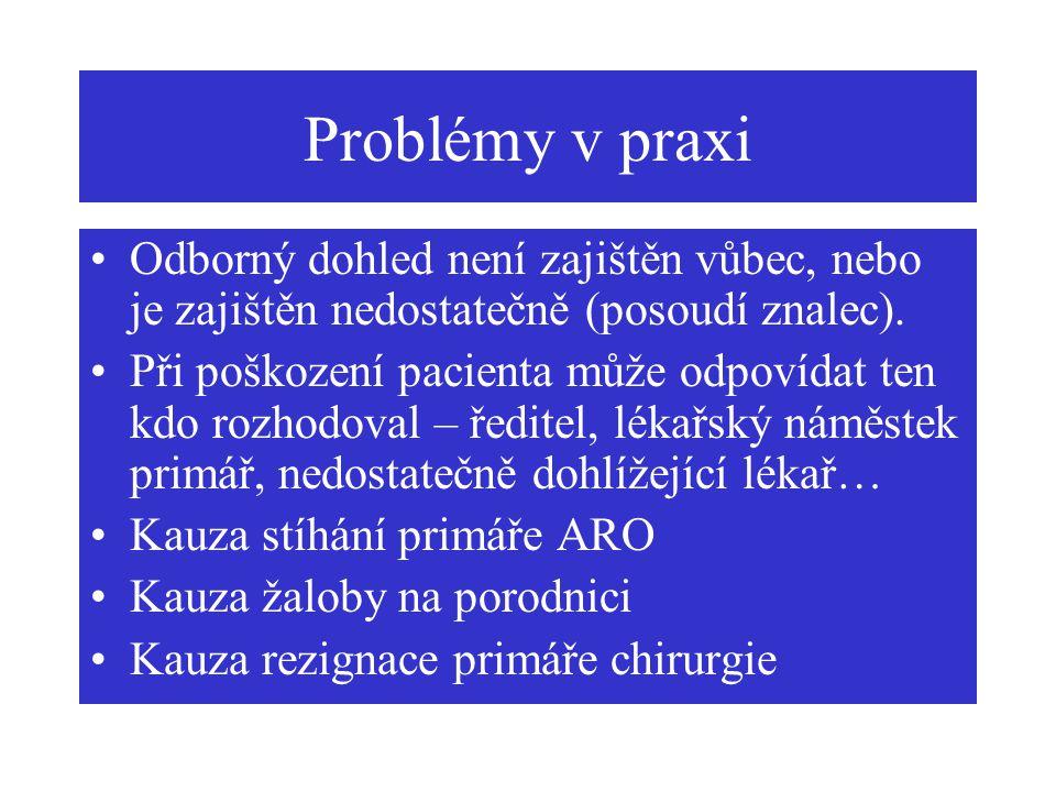 Problémy v praxi Odborný dohled není zajištěn vůbec, nebo je zajištěn nedostatečně (posoudí znalec).