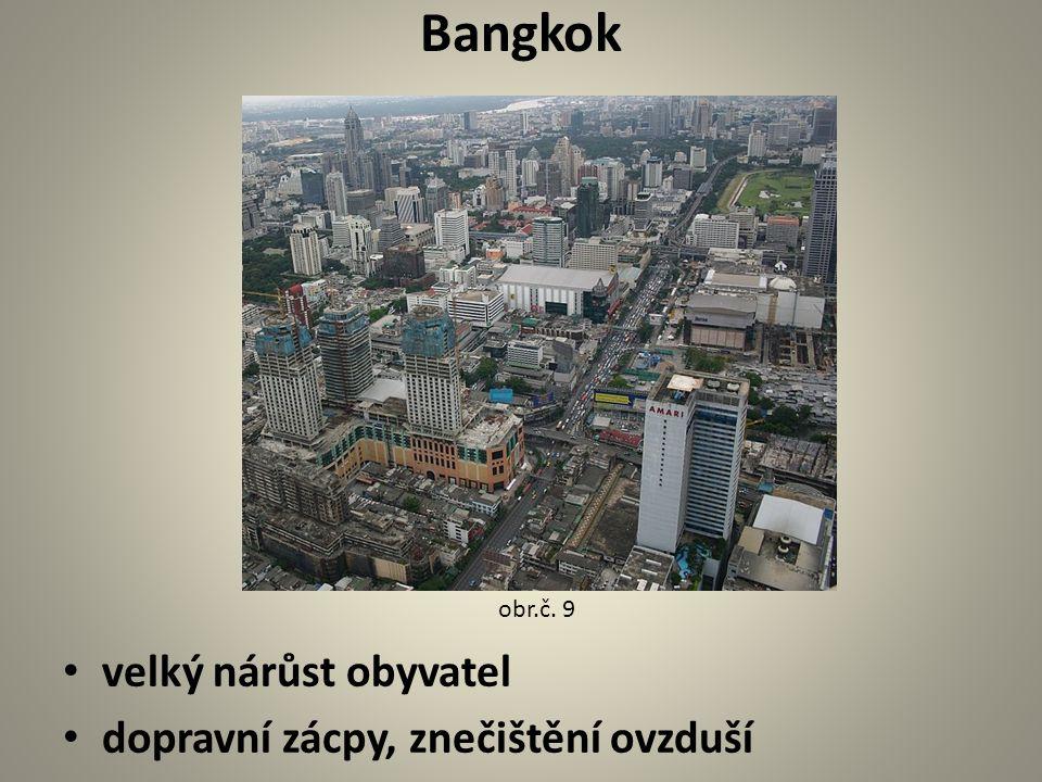 Bangkok velký nárůst obyvatel dopravní zácpy, znečištění ovzduší
