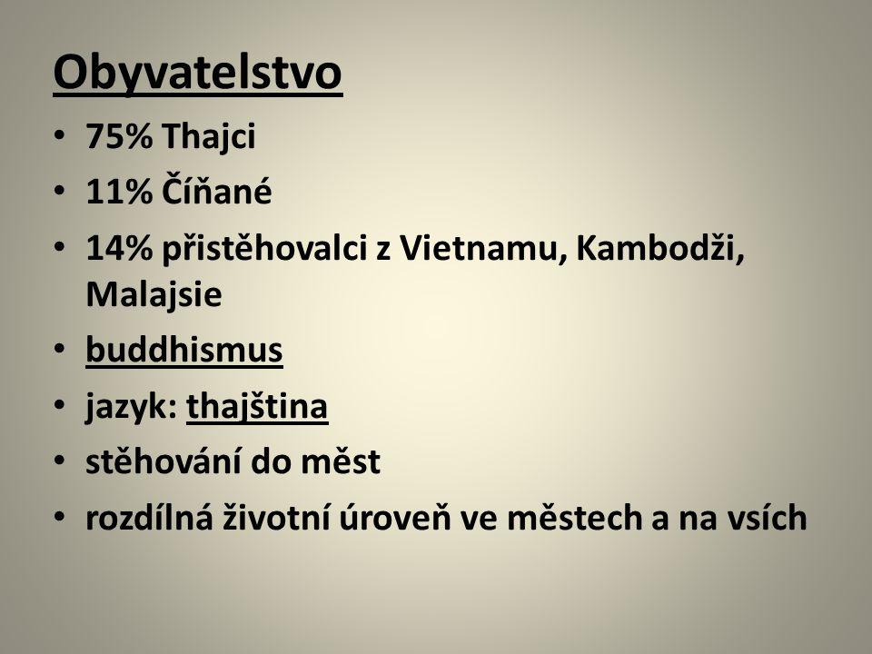Obyvatelstvo 75% Thajci 11% Číňané