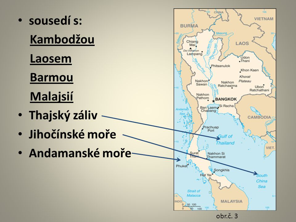 sousedí s: Kambodžou Laosem Barmou Malajsií Thajský záliv