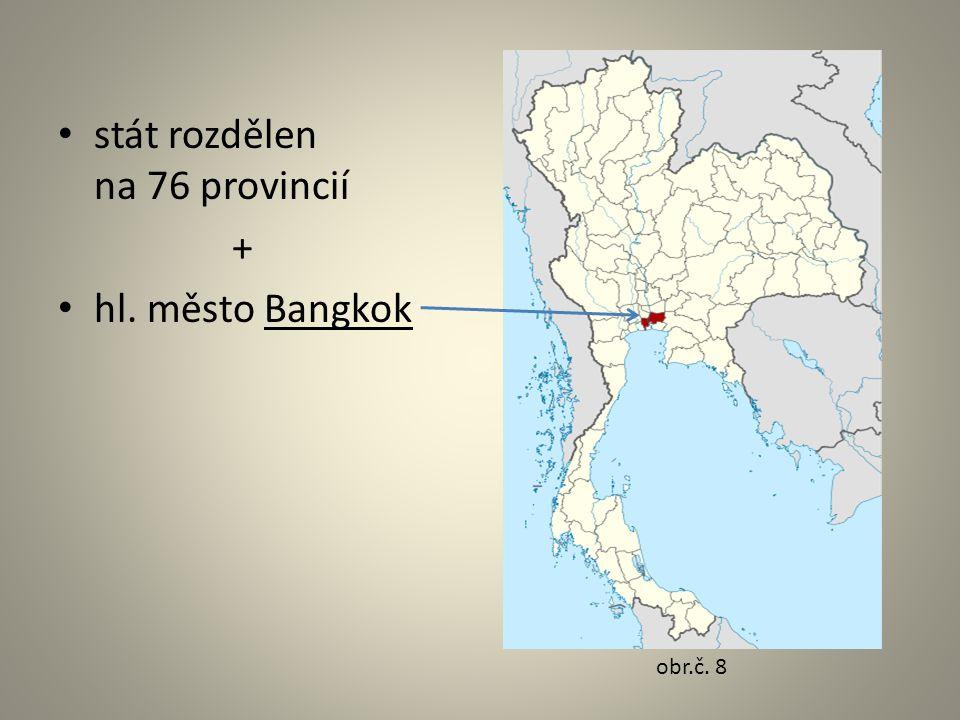 stát rozdělen na 76 provincií + hl. město Bangkok