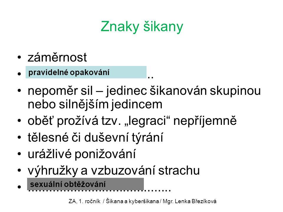 ZA, 1. ročník / Šikana a kyberšikana / Mgr. Lenka Březíková