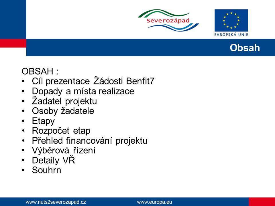 Obsah OBSAH : Cíl prezentace Žádosti Benfit7 Dopady a místa realizace
