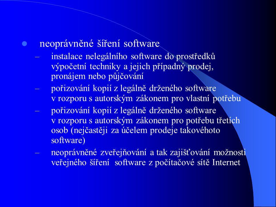 neoprávněné šíření software