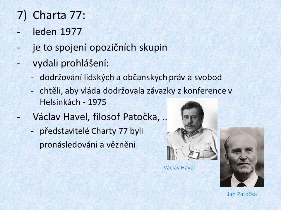 Charta 77: leden 1977 je to spojení opozičních skupin