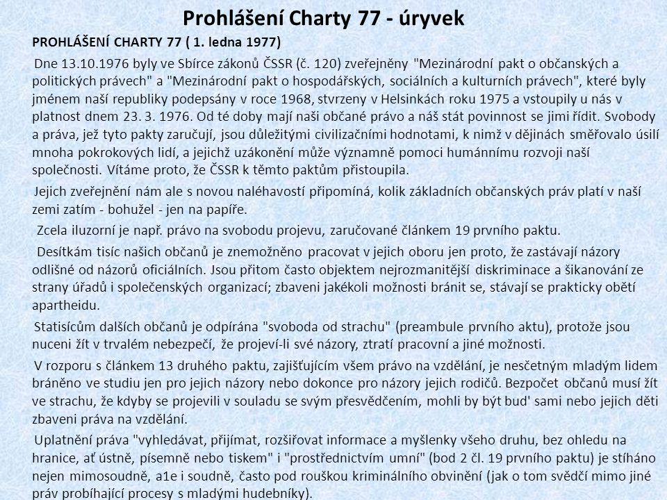 Prohlášení Charty 77 - úryvek