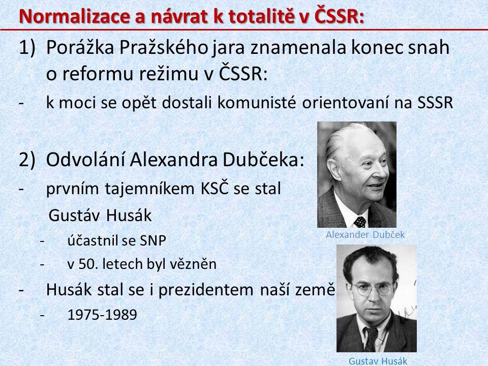 Normalizace a návrat k totalitě v ČSSR: