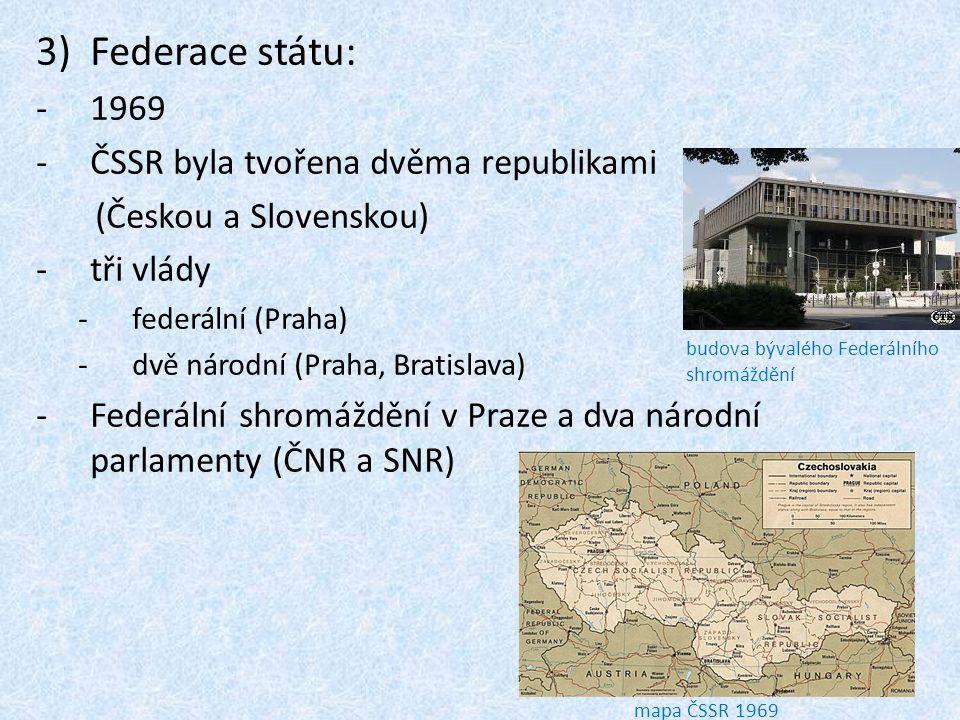Federace státu: 1969 ČSSR byla tvořena dvěma republikami