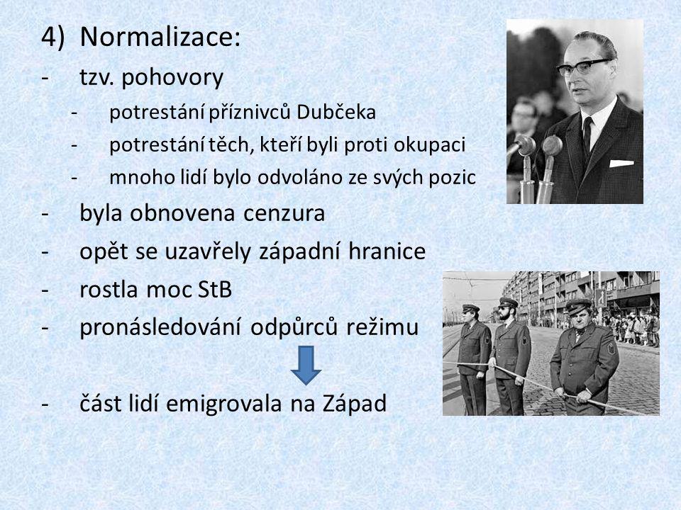 Normalizace: tzv. pohovory byla obnovena cenzura