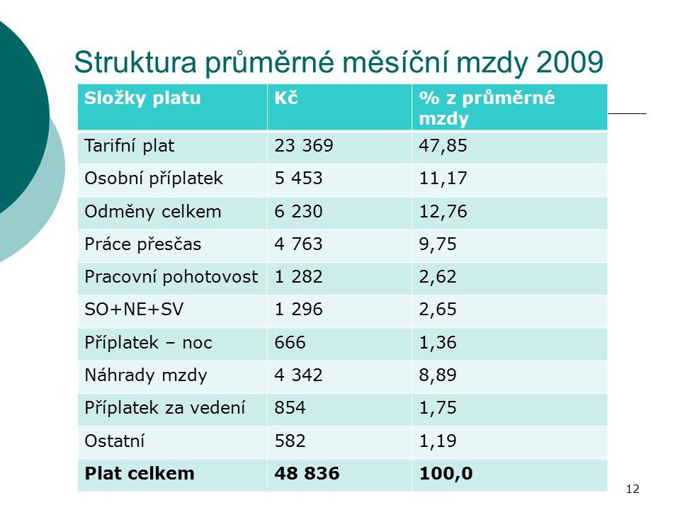 Struktura průměrné měsíční mzdy 2009