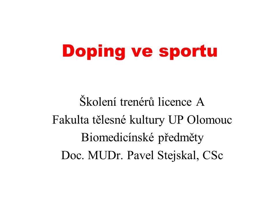 Doping ve sportu Školení trenérů licence A