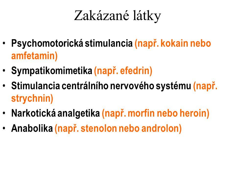 Zakázané látky Psychomotorická stimulancia (např. kokain nebo amfetamin) Sympatikomimetika (např. efedrin)