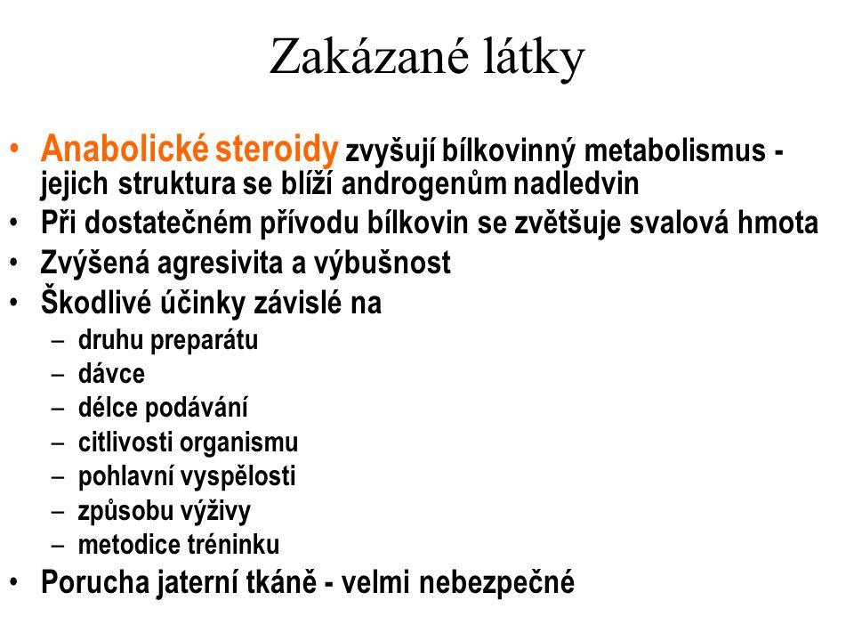 Zakázané látky Anabolické steroidy zvyšují bílkovinný metabolismus - jejich struktura se blíží androgenům nadledvin.