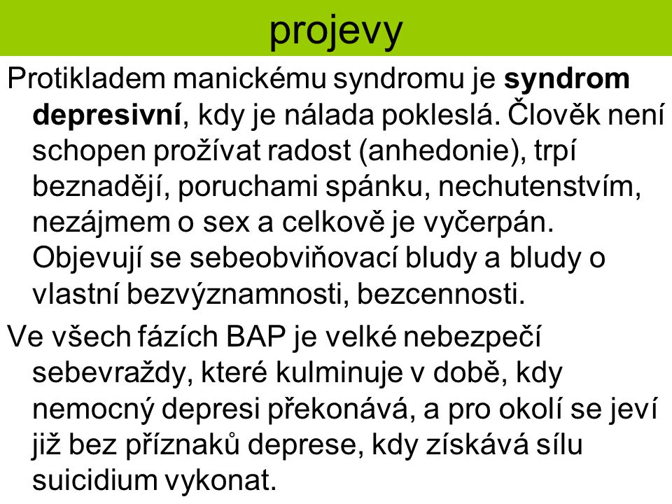 projevy