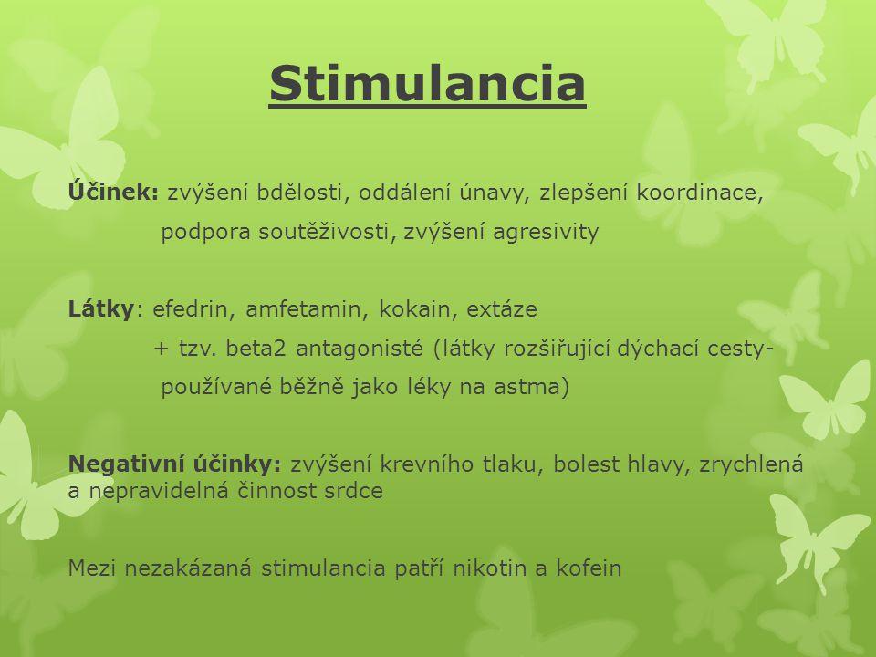 Stimulancia Účinek: zvýšení bdělosti, oddálení únavy, zlepšení koordinace, podpora soutěživosti, zvýšení agresivity.
