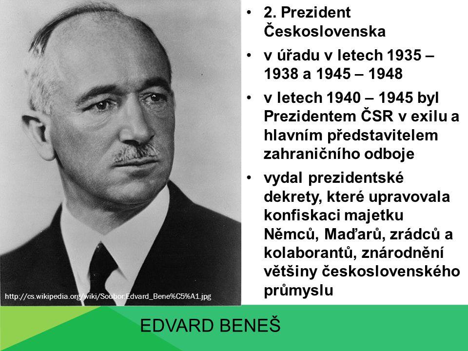 Edvard beneš 2. Prezident Československa