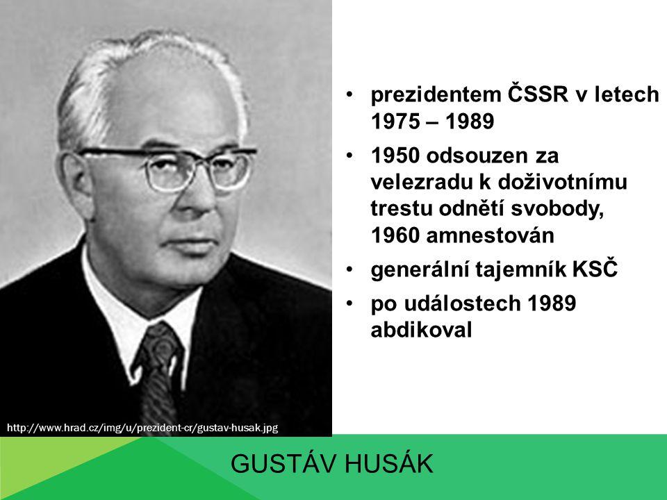 Gustáv husák prezidentem ČSSR v letech 1975 – 1989