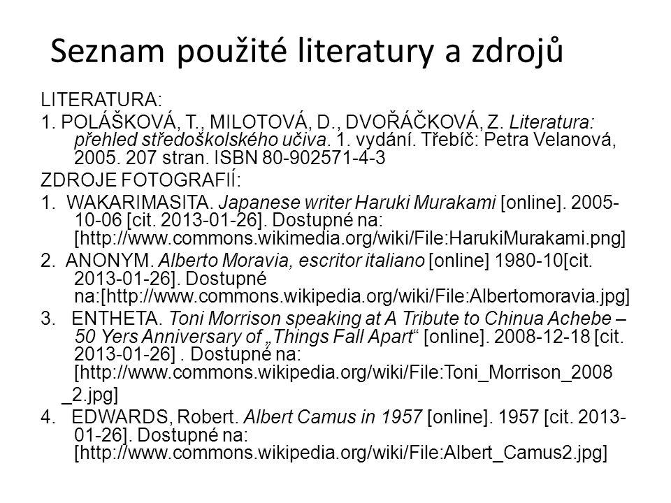 Seznam použité literatury a zdrojů