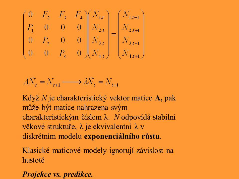 Když N je charakteristický vektor matice A, pak může být matice nahrazena svým charakteristickým číslem λ. N odpovídá stabilní věkové struktuře, λ je ekvivalentní λ v diskrétním modelu exponenciálního růstu.