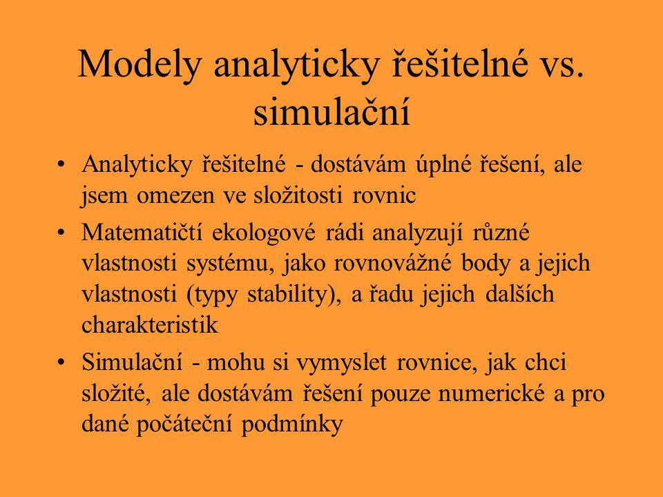 Modely analyticky řešitelné vs. simulační