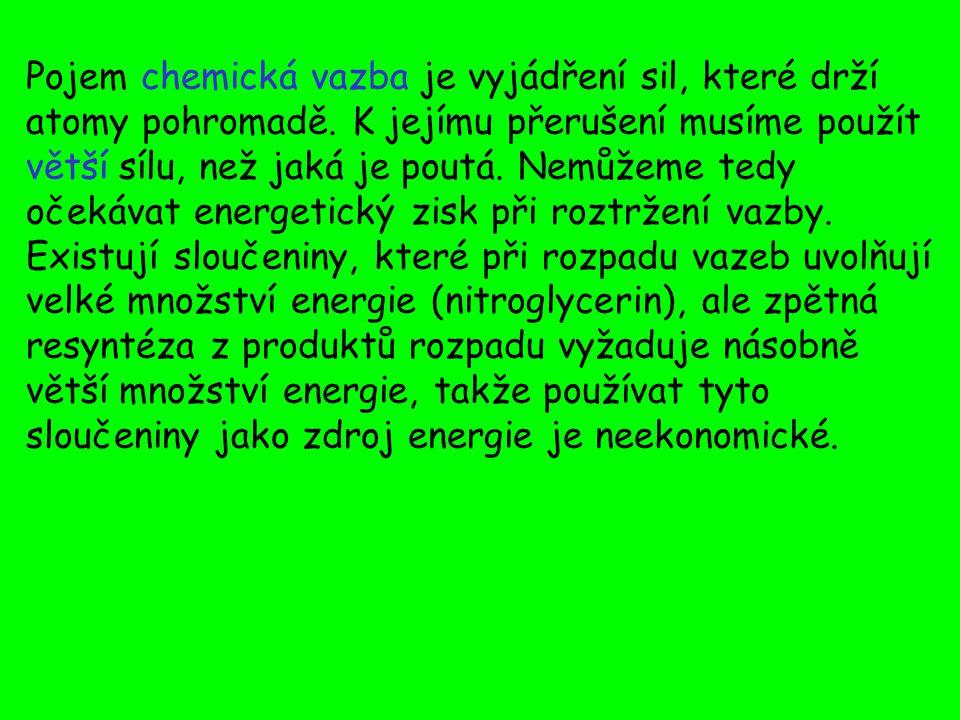 Pojem chemická vazba je vyjádření sil, které drží atomy pohromadě